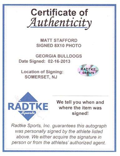 Matthew Stafford Autographed/Signed Georgia Bulldogs 8x10 NCAA Photo Red Jersey-7063