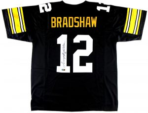 Terry Bradshaw Signed Pittsburgh Steelers Black Throwback Custom Jersey-0