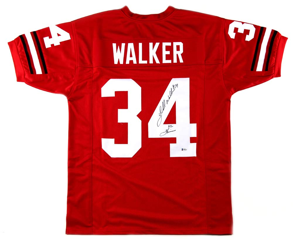 "4732a183f Herschel Walker Signed Georgia Red Custom Jersey with ""82 Heisman""  Inscription"