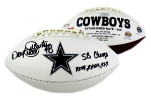 "Daryl Johnston Signed Dallas Cowboys NFL Logo Football With ""Moose"" and ""SB Champs"" Inscriptions-0"