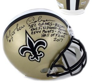 "Morten Andersen Signed New Orleans Saints Full Size Helmet With ""Hall Of Fame 2017"" Inscription LE #7 Of 77-0"