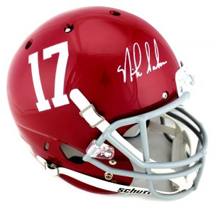 Nick Saban Signed Alabama Crimson Tide Schutt Authentic Full Size NCAA Red Helmet-0
