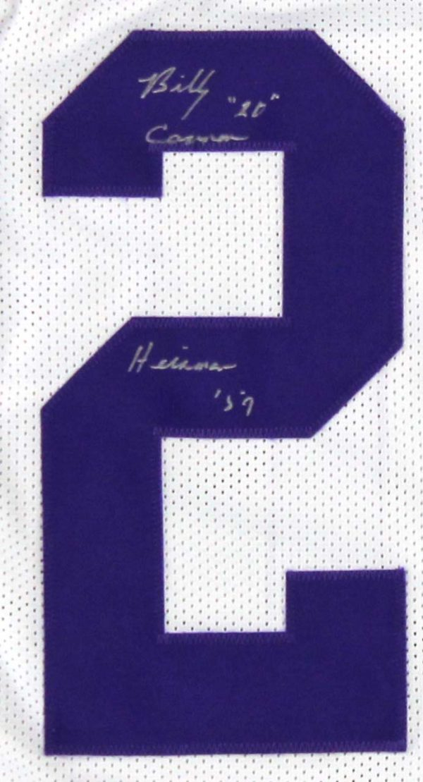 """Billy Cannon Autographed/Signed LSU Tigers Throwback Style Custom Jersey with """"Heisman Trophy 1959 - CHOF"""" Inscription - Silver-19852"""