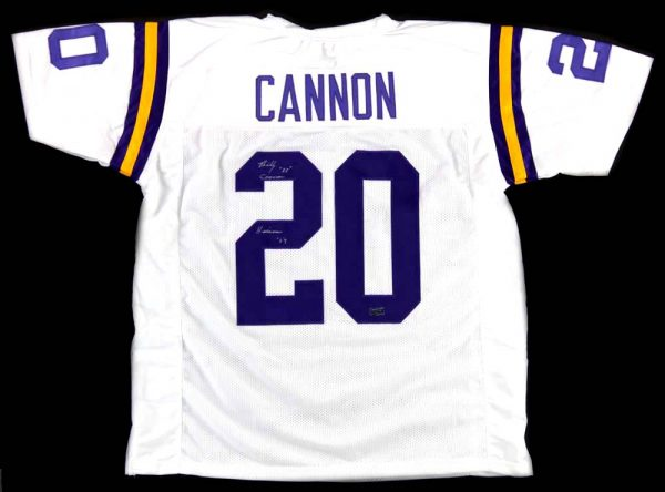 """Billy Cannon Autographed/Signed LSU Tigers Throwback Style Custom Jersey with """"Heisman Trophy 1959 - CHOF"""" Inscription - Silver-19855"""