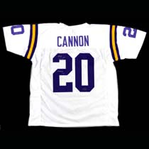 """Billy Cannon Autographed/Signed LSU Tigers Throwback Style Custom Jersey with """"Heisman Trophy 1959 - CHOF"""" Inscription - Silver-19853"""