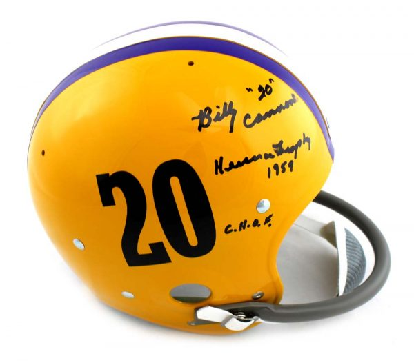 "Billy Cannon Autographed/Signed LSU Tigers Full Size RK Suspension Helmet ""Heisman '59 CHOF""-23366"