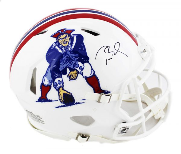 Tom Brady Signed New England Patriots Riddell Throwback Authentic Speed NFL Helmet - Tristar-0