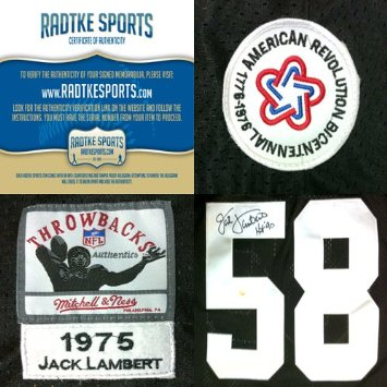 newest 64e49 9b0d5 Jack Lambert Autographed/Signed Pittsburgh Steelers Mitchell & Ness  Throwback NFL Jersey with