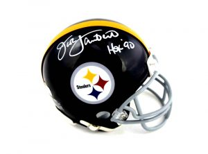 "Jack Lambert Signed Pittsburgh Steelers Riddell Throwback NFL Mini Helmet With ""HOF 90"" Inscription -0"