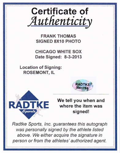Frank Thomas Autographed/Signed Chicago White Sox 8x10 MLB Photo Swinging-6198