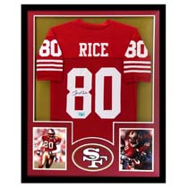 Jerry Rice Signed San Francisco 49ers Framed Custom Red Jersey -22106