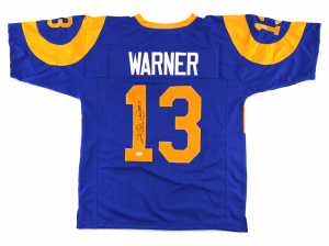 "Kurt Warner Signed Los Angeles Rams Blue Custom Jersey with ""HOF 17"" Inscription-0"