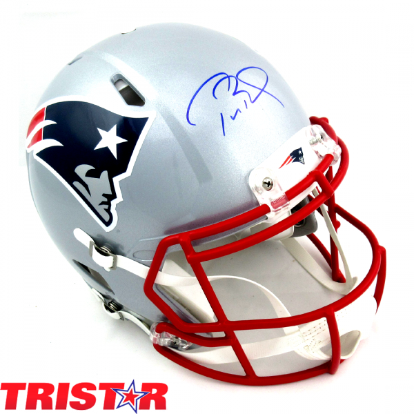 Tom Brady Autographed/Signed New England Patriots Riddell Authentic Revolution Speed NFL Helmet in Blue Ink- Tristar-0
