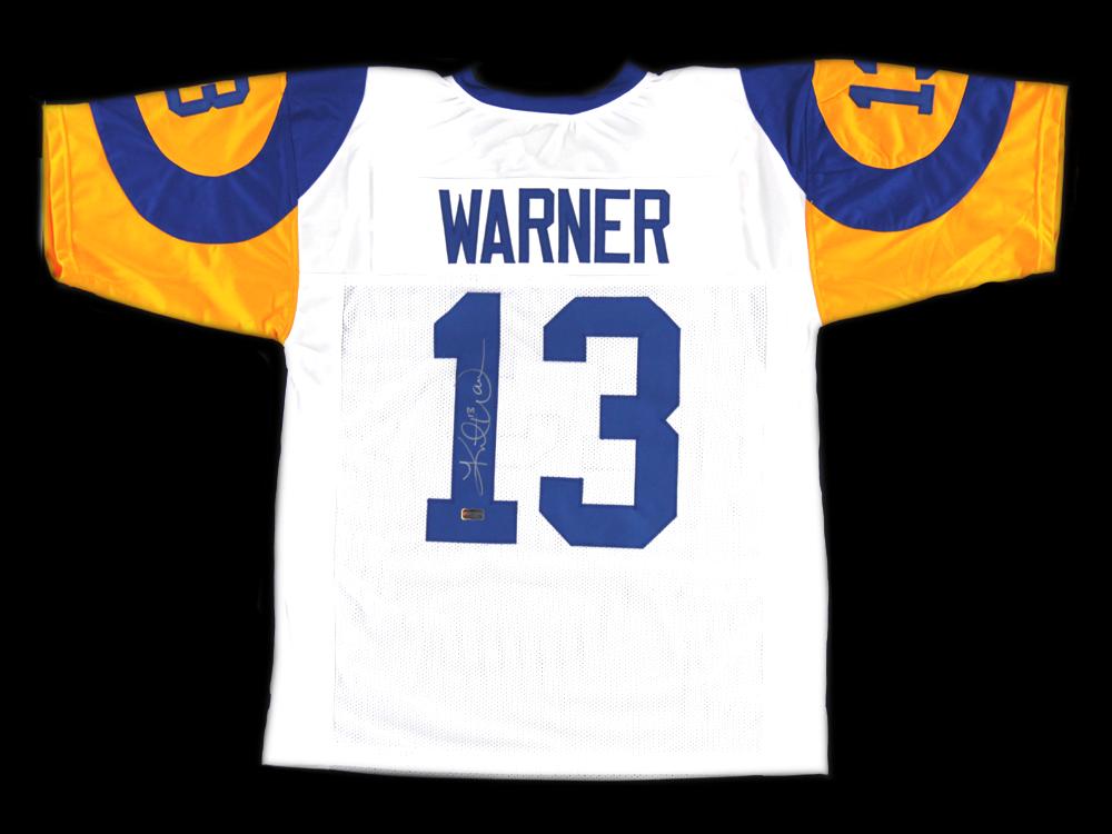 d83a01bb Kurt Warner Signed Los Angeles Rams White Custom Jersey