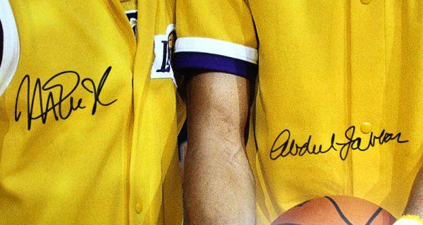 Abdul-Jabbar & Magic Johnson Signed Los Angeles Lakers 16x20 NBA Photo-31832