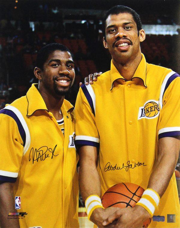 Abdul-Jabbar & Magic Johnson Signed Los Angeles Lakers 16x20 NBA Photo-0