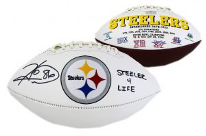 "Hines Ward Signed Pittsburgh Steelers Embroidered NFL Football With ""Steelers 4 Life"" Inscription-0"