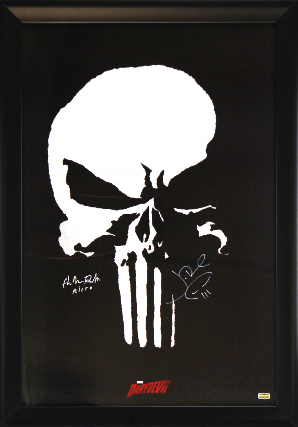 """Jon Bernthal & Ebon Moss-Bachrach Signed Marvel Punisher Full Size Framed Daredevil Poster With The Punisher Logo And """"Micro"""" Inscription-0"""