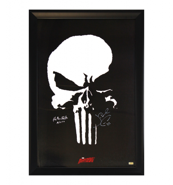"""Jon Bernthal & Ebon Moss-Bachrach Signed Marvel Punisher Full Size Framed Daredevil Poster With The Punisher Logo And """"Micro"""" Inscription-32648"""