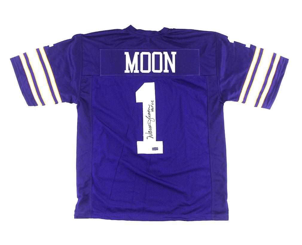 49be0637f Warren Moon Signed Minnesota Vikings Throwback Purple Custom Jersey with