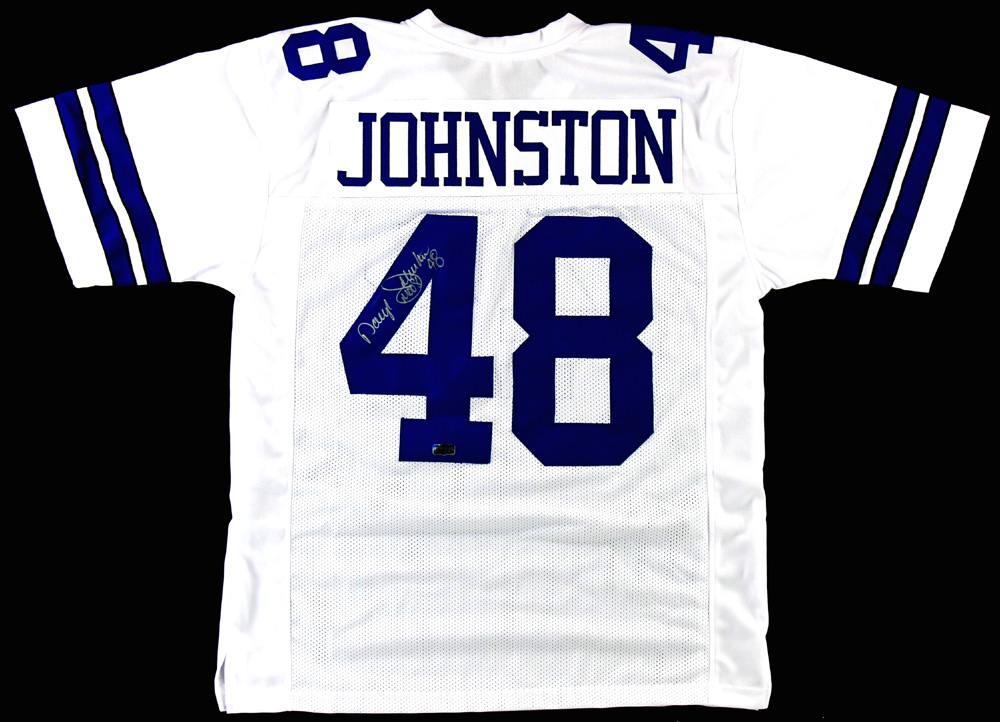 official photos 5f8e2 41dfe Daryl Johnston Signed Dallas Cowboys Custom White Jersey With