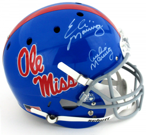 Archie and Eli Manning Signed Ole Miss Rebels Schutt Powder Blue Full Size Helmet-0