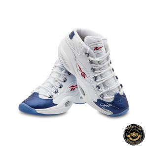 Allen Iverson Autographed/Signed Reebok Question Mid Shoes with Blue Toe - 76ers-0