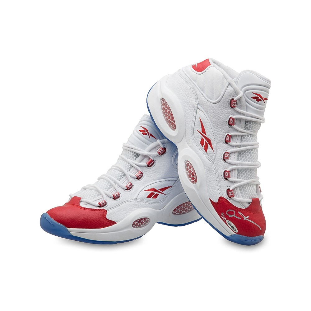 0f40c68dd5d Allen Iverson Signed Reebok Question Mid Shoes with Red Toe - 76ers-13666  ...