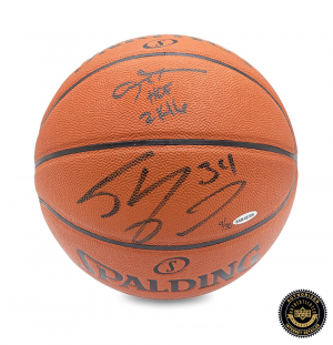 Allen Iverson & Shaquille O'Neal Signed Spalding Indoor/Outdoor Basketball - LE-0