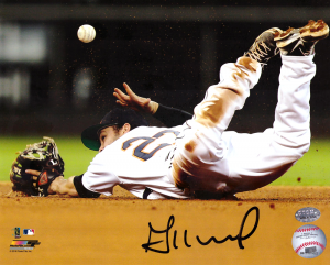 Jose Altuve Autographed/Signed Houston Astros 8x10 Photo - Sliding Throw-0