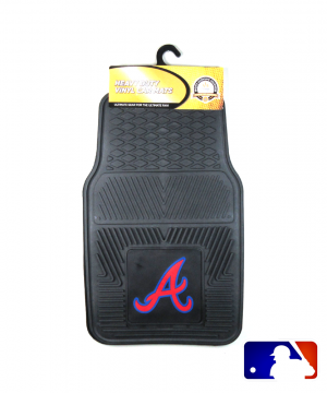 Atlanta Braves Officially Licensed 17x27 Heavy Duty Vinyl MLB Car Mats Set-0