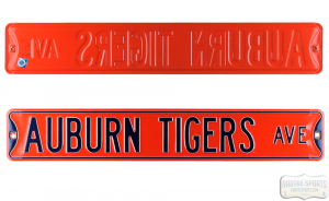 Auburn Tigers Avenue Officially Licensed Authentic Steel 36x6 Orange & Blue NCAA Street Sign-0