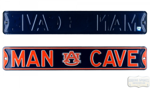 Auburn Tigers Man Cave Officially Licensed Authentic Steel 36x6 Blue & Orange NCAA Street Sign-0