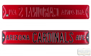 Arizona Cardinals Avenue Officially Licensed Authentic Steel 36x6 Red & Black NFL Street Sign-0