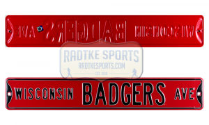 Wisconsin Badgers Avenue Officially Licensed Authentic Steel 36x6 Red & Black NCAA Street Sign-0
