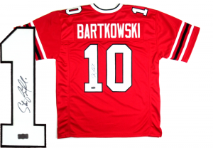Steve Bartkowski Signed Atlanta Falcons Throwback Custom Red Jersey-0