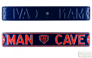 Chicago Bears Man Cave Officially Licensed Authentic Steel 36x6 Blue & Orange NFL Street Sign-0