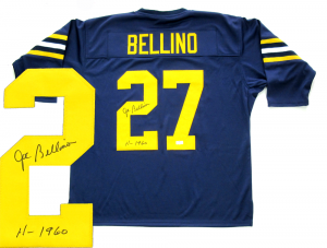 "Joe Bellino Signed Navy Midshipmen Throwback Blue Custom Jersey with ""H-1960"" Inscription-0"