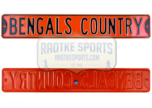 Cincinnati Bengals Country Officially Licensed Authentic Steel 36x6 Orange & Black NFL Street Sign-0
