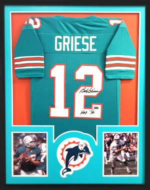 """Bob Griese Signed Miami Dolphins Framed Green Custom Jersey With """"HOF 90"""" Inscription-0"""