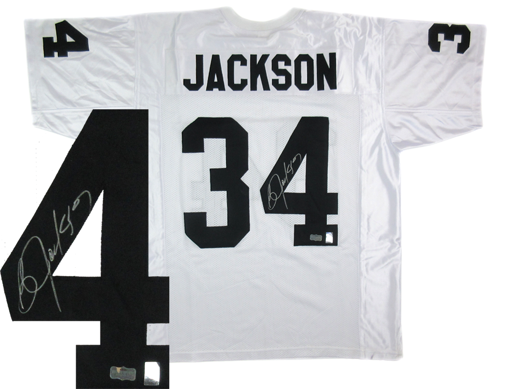 pretty nice 90a3c 118b2 Bo Jackson Autographed/Signed Oakland Raiders White Custom Deluxe NFL Jersey