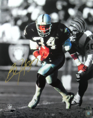 Bo Jackson Signed Oakland Raiders Black & White 16x20 NFL Action Photo-0