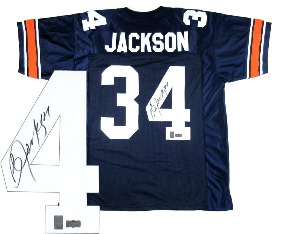brand new 4cf33 f4546 Bo Jackson Signed Auburn Tigers Blue Custom Jersey