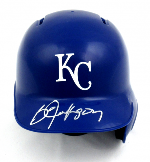 Bo Jackson Signed Rawlings Kansas City Royals Blue MLB Mini Batting Helmet-0