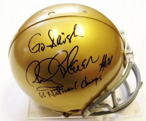 "Rocky Bleier Signed Full Size Notre Dame Helmet ""Go Irish"" and ""66 National Champs-0"