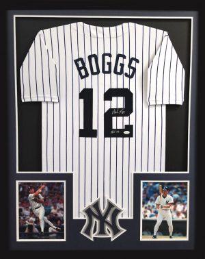 "Wade Boggs Signed New York Yankees Pinstripe Framed Custom Jersey with ""HOF 05"" Inscription-0"