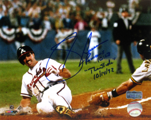 "Sid Bream Signed Atlanta Braves Iconic 8x10 MLB Photo with ""The Slide 10/14/92"" and Bible Verse Inscription-0"