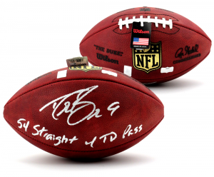 """Drew Brees Signed Wilson Authentic Duke NFL Football with """"54 Straight w/ TD Pass"""" Inscription-0"""