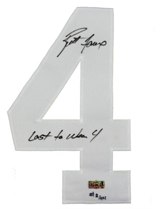 "Brett Favre Autographed/Signed Green Bay Packers Custom Home NFL Jersey with ""Last to Wear 4"" Inscription - LE of 44-619"