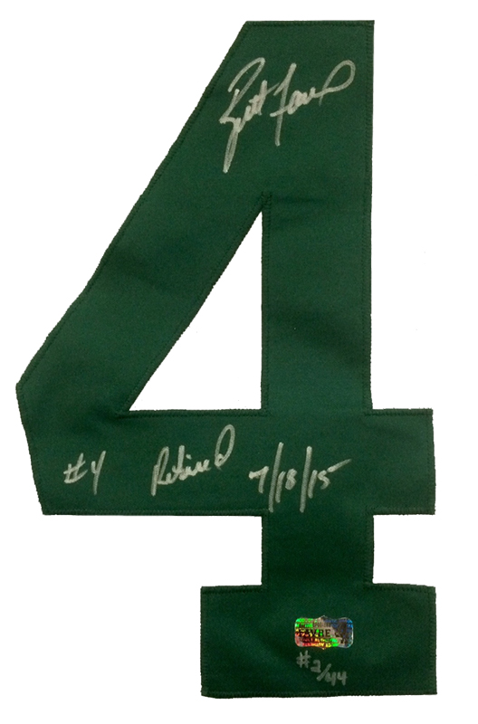 """Brett Favre Autographed/Signed Green Bay Packers Custom NFL Away Jersey with """"4 Retired 7/18/15"""" Inscription - LE of 44-607"""